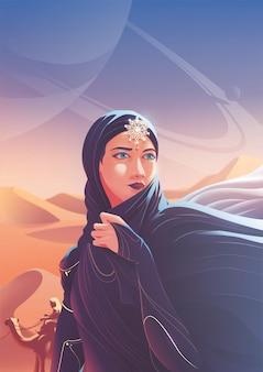 Une dame arabe voyage avec une caravane pour se joindre à un pèlerinage vers un lieu sacré