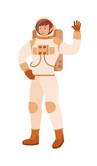 Dame astronaute en combinaison spatiale, casque en expédition cosmique