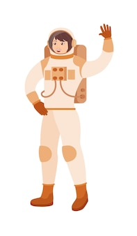 Dame astronaute en costume de personnage de dessin animé sur fond blanc