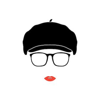 Dame en béret vintage et lunettes