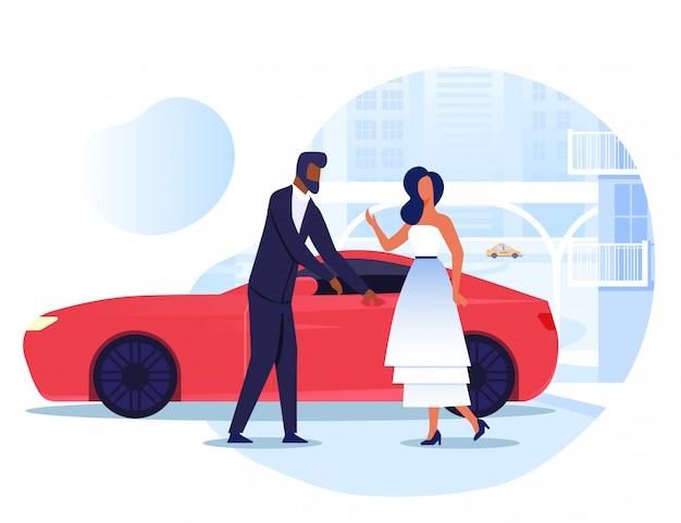 Dame avec chauffeur personnel