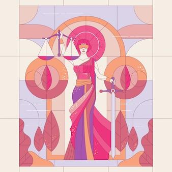 Dame de la justice femida ou thémis
