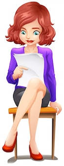 Une dame lisant tout en étant assis sur le banc