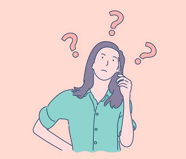 Dame pensée choisir décider de dilemmes résoudre les problèmes dessinés à la main