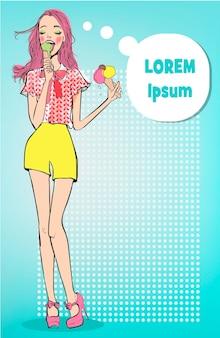 Dame vintage avec crème glacée dans un style pop art
