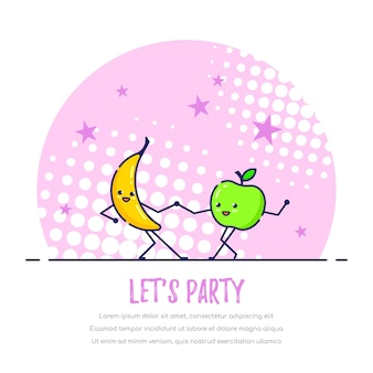 Dancing Funny Fruits Couple, Banane Et Pomme. Permet Le Concept De Fête Vecteur Premium