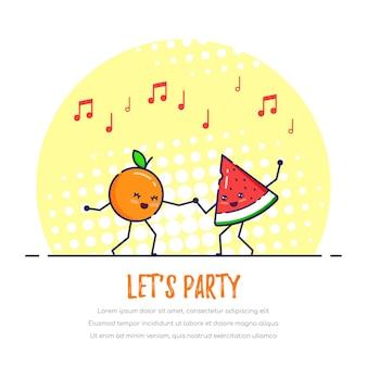 Dancing funny fruits couple, orange et pastèque.