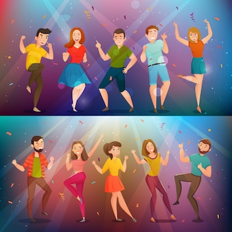 Dancing people retro banners set