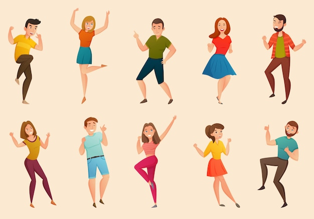 Dancing people retro icons set