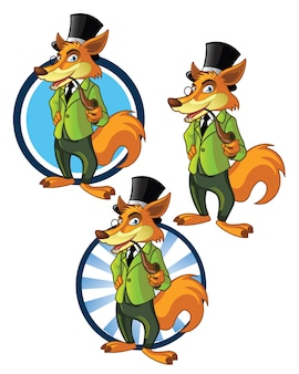 Dandy fox mascotte de dessin animé