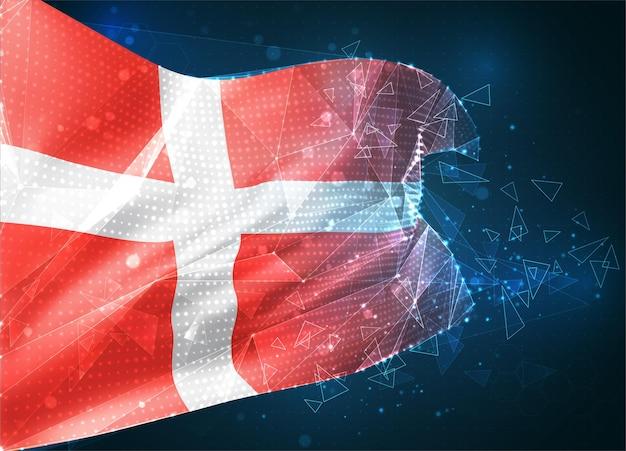Danemark, drapeau vectoriel, objet 3d abstrait virtuel à partir de polygones triangulaires sur fond bleu