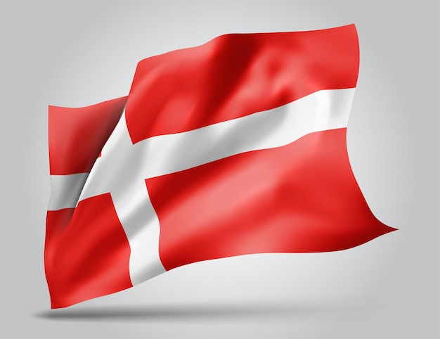 Danemark, drapeau vectoriel avec des vagues et des virages ondulant dans le vent sur fond blanc.