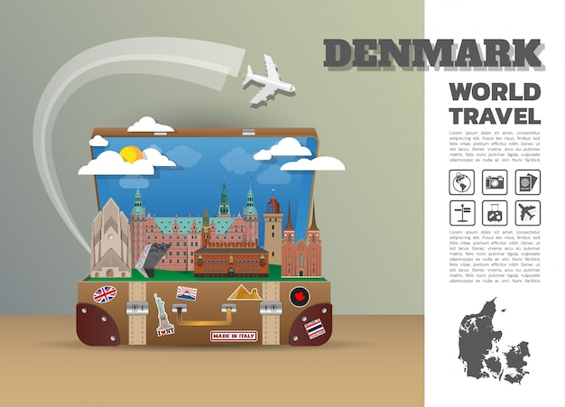 Danemark landmark global travel and journey infographic bagages