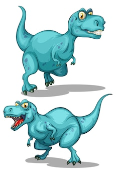 Danger de dinosaure bleu avec dents pointues