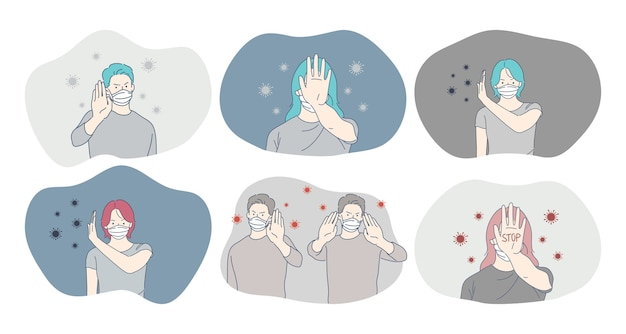 Danger ou infection à coronavirus, protection, masque facial, épidémie, pandémie, concept d'épidémie