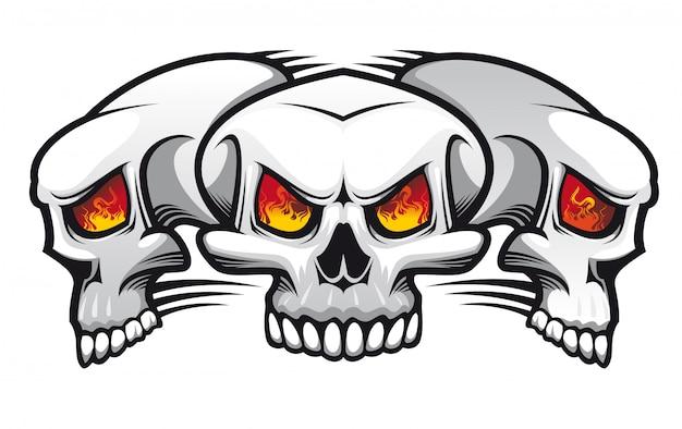 Danger mal crânes comme un tatouage isolé sur blanc