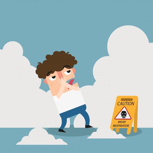Danger porter signe d'avertissement respirateur