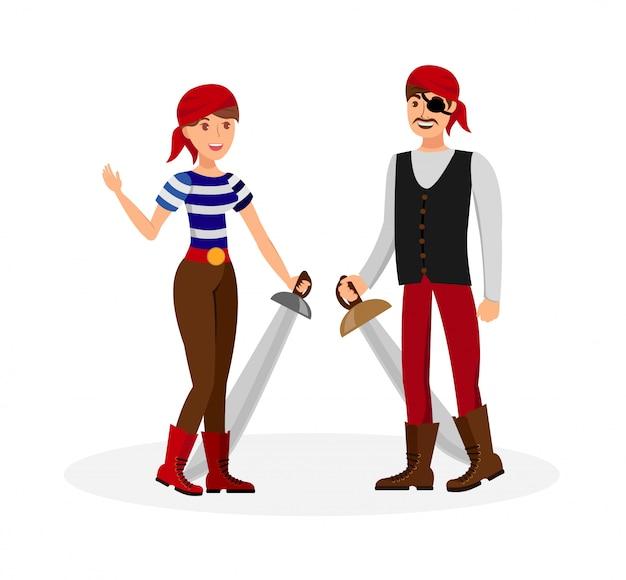 Dangereux, pirate, couple, plat, illustration, couleur