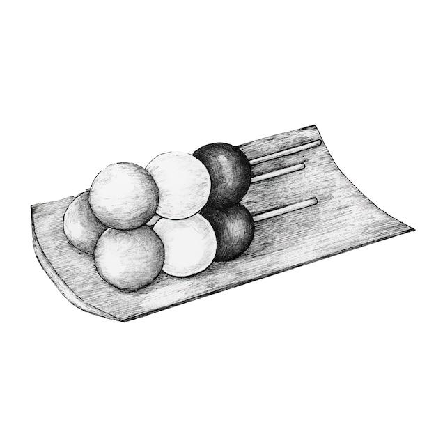 Dango japonais dessinés à la main