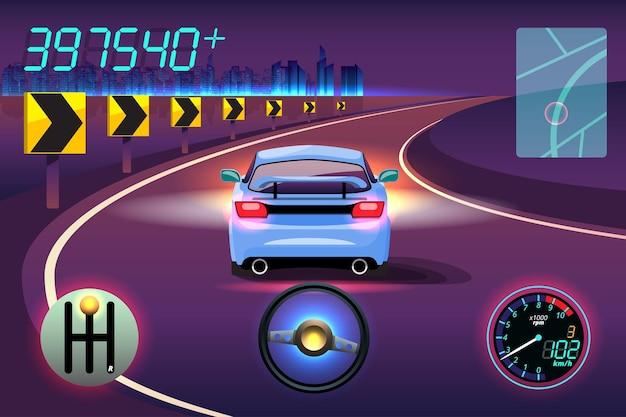 Dans la compétition de jeu, le joueur a utilisé une voiture à grande vitesse pour gagner dans un jeu de course