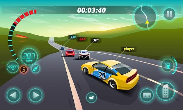Dans la compétition de jeu, le joueur a utilisé une voiture à grande vitesse pour gagner dans le jeu de course.
