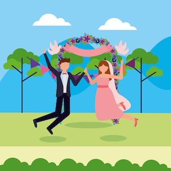 Dans les gens de mariage style plat