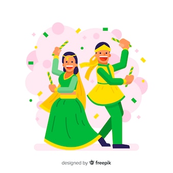 Danse de couple confetti dandiya fond
