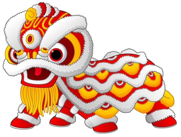 Danse du lion chinois isolé sur fond blanc