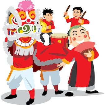 Danse du lion du nouvel an chinois sur fond blanc, joyeux groupe en costume traditionnel de chine.