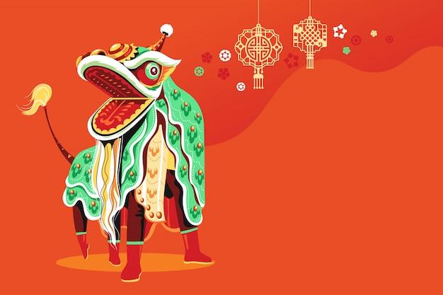 Danse du lion du nouvel an chinois avec vecteur de saut et de défilement