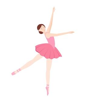 Danse élégante ballerine sur fond blanc, illustration vectorielle