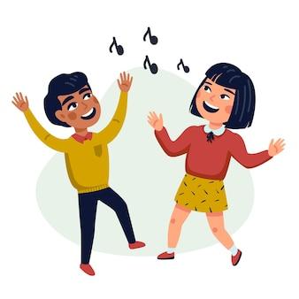 Danse enfants cartoon illustration d'enfants multiculturels heureux