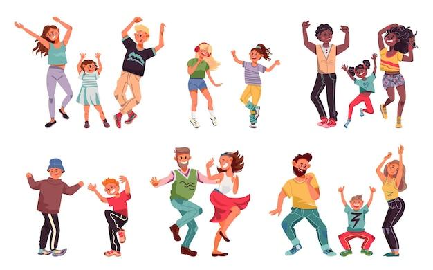 Danse en famille. les jeunes, les parents d'enfants amusants dansent disco. les enfants et les couples passent du bon temps, des personnages vectoriels heureux papa enfant mère. illustration homme et femme danse, mère et père