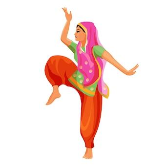 Danse solo réalisée par une fille en chemise de soie et pantalon à tête couverte