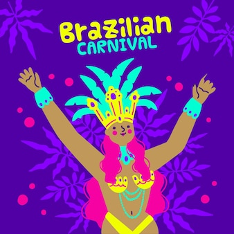 Danseur De Carnaval Brésilien Dessiné à La Main En Costume Vecteur gratuit