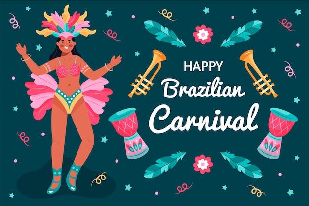 Danseur De Carnaval Brésilien Dessiné à La Main Vecteur gratuit