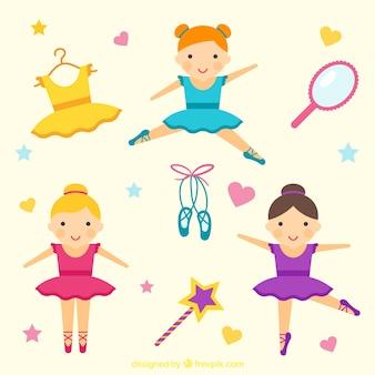 Danseurs de ballet drôles avec des accessoires mignons