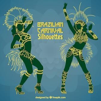 Danseurs brésiliens silhouettes