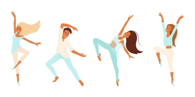 Danseurs joyeux gens dansant ensemble de vecteurs