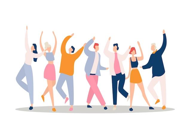 Danseurs levant les mains isolés sur blanc