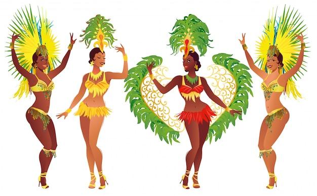 Danseurs de samba brésiliens au carnaval
