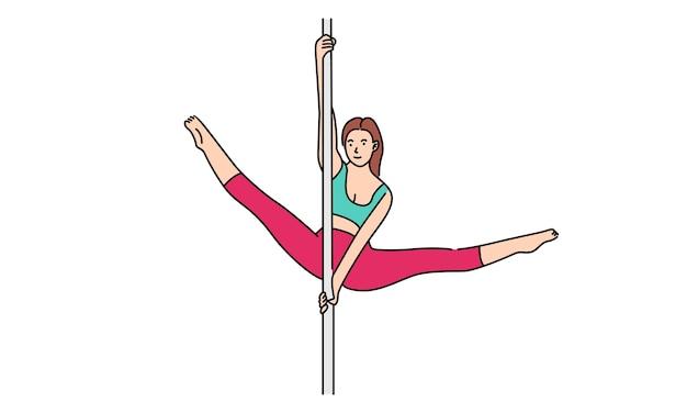 Danseuse de pole femme danse pose sur poteau