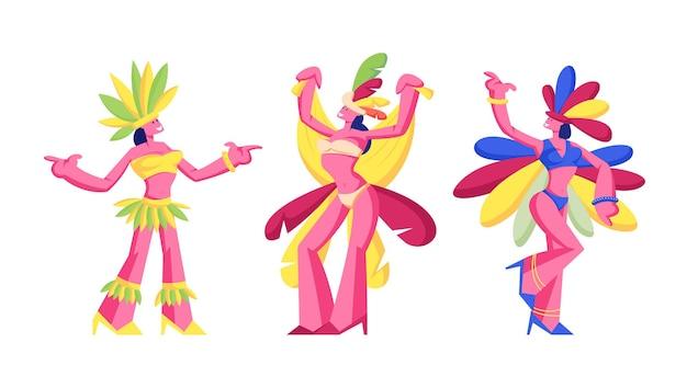 Danseuses de samba brésiliennes femmes isolées sur fond blanc, illustration de plat de dessin animé