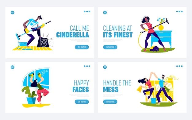 Dansez en nettoyant la maison. ensemble de pages de destination avec des personnages de dessins animés drôles