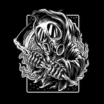 Dark myth illustration en noir et blanc