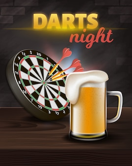 Darts night banner vertical, aim board avec des fléchettes
