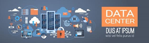 Data center cloud connexion à l'ordinateur serveur d'hébergement base de données synchroniser la technologie