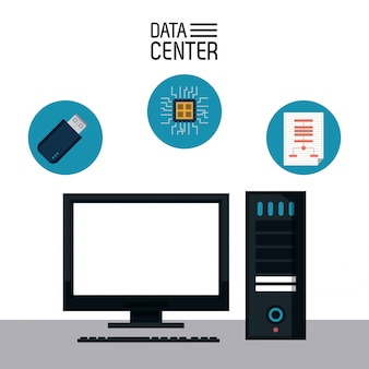Data center stockage icône vector illustration design graphique