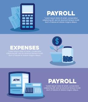 Dataphone avec set icons economy finance