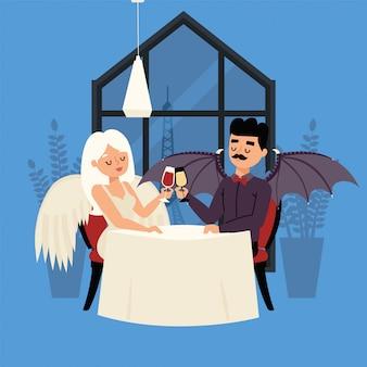 Date ange et démon avec des ailes, illustration de boisson en verre. fille avec des plumes blondes et des cheveux est assis à table avec un homme sombre